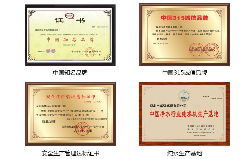 华迈净水器中国知名品牌证书
